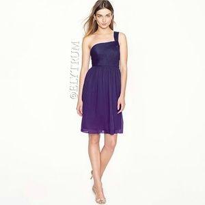 J. Crew Lucienne one strap dark purple silk dress